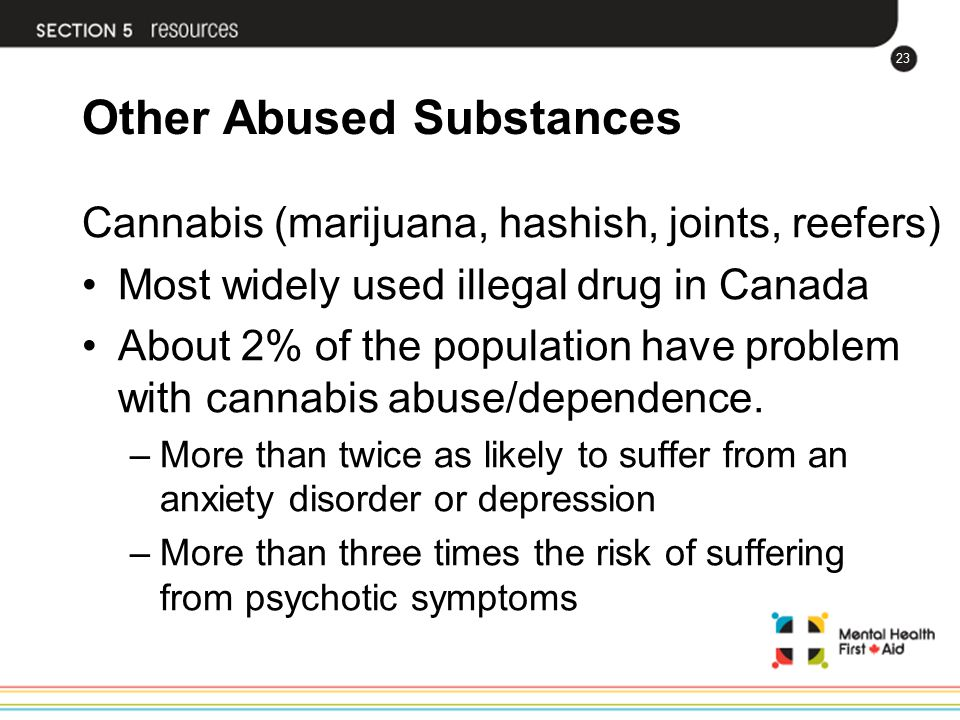 23 Other Abused Substances Cannabis (marijuana, hashish, joints, reefers) Most widely used illegal drug in Canada About 2% of the population have prob