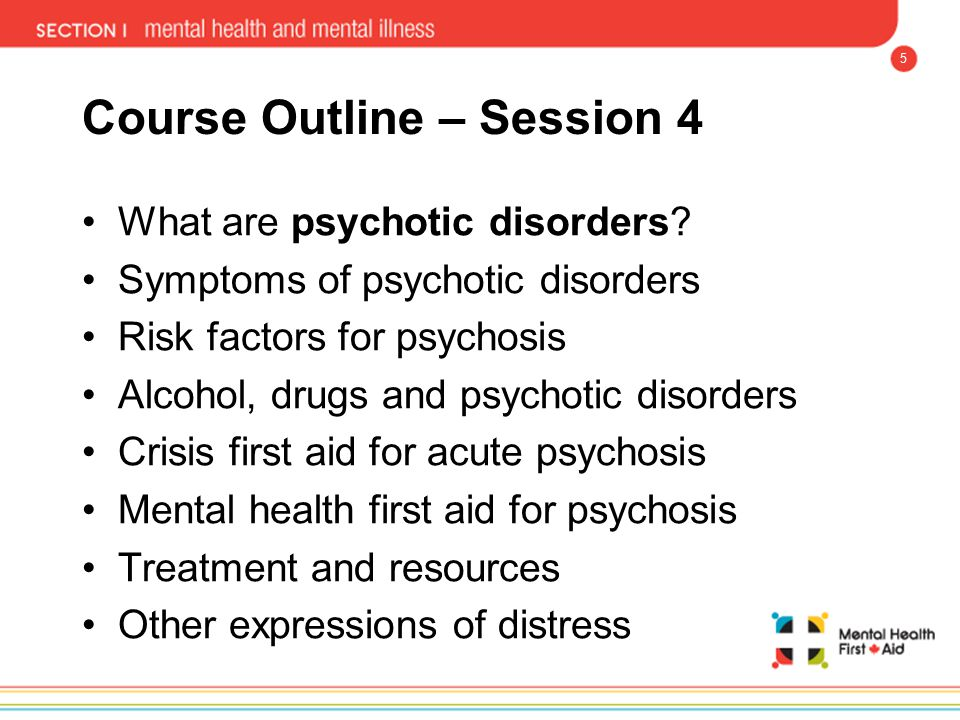 5 Course Outline – Session 4 What are psychotic disorders? Symptoms of psychotic disorders Risk factors for psychosis Alcohol, drugs and psychotic dis