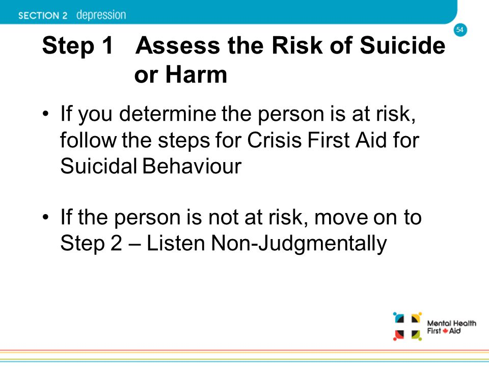 54 Step 1 Assess the Risk of Suicide or Harm If you determine the person is at risk, follow the steps for Crisis First Aid for Suicidal Behaviour If t