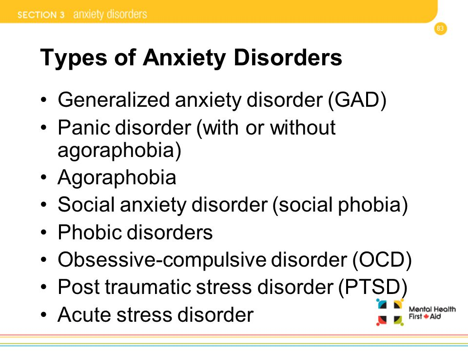 83 Types of Anxiety Disorders Generalized anxiety disorder (GAD) Panic disorder (with or without agoraphobia) Agoraphobia Social anxiety disorder (soc