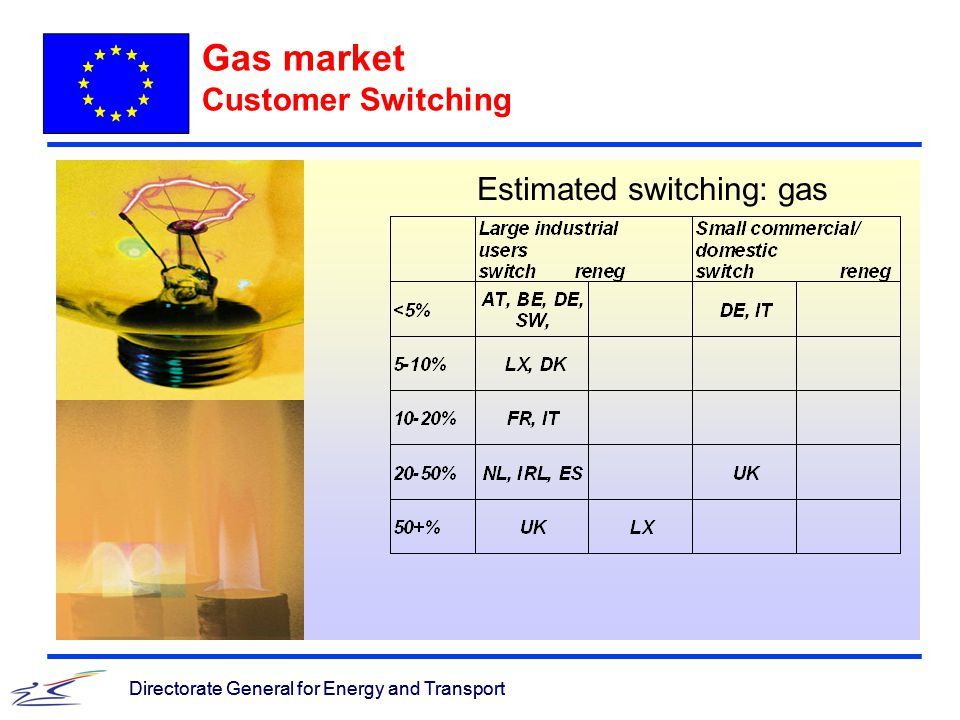 Directorate General for Energy and Transport Gas market Customer Switching Directorate General for Energy and Transport Estimated switching: gas