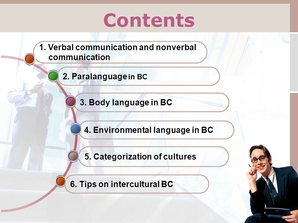 2. Paralanguage in BC Contents 6. Tips on intercultural BC 5.