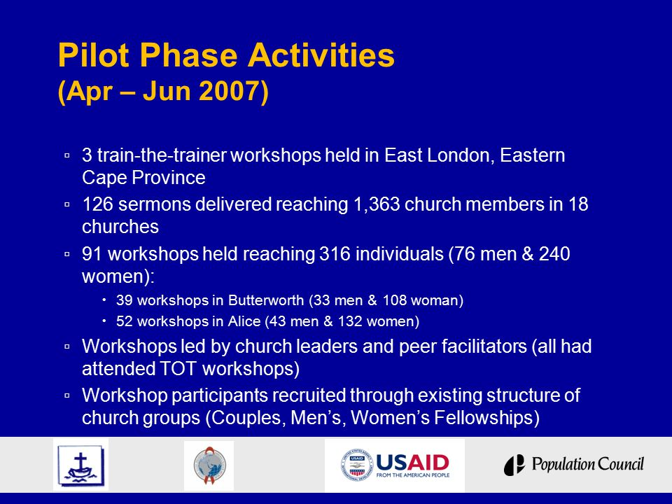 Pilot Phase Activities (Apr – Jun 2007) ▫ 3 train-the-trainer workshops held in East London, Eastern Cape Province ▫ 126 sermons delivered reaching 1,363 church members in 18 churches ▫ 91 workshops held reaching 316 individuals (76 men & 240 women):  39 workshops in Butterworth (33 men & 108 woman)  52 workshops in Alice (43 men & 132 women) ▫ Workshops led by church leaders and peer facilitators (all had attended TOT workshops) ▫ Workshop participants recruited through existing structure of church groups (Couples, Men's, Women's Fellowships)