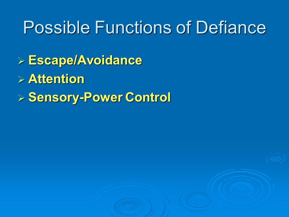 Attention, Sensory or Escape Avoidance Control Control