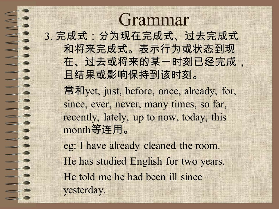 Grammar eg: We're going to try a new method next month.