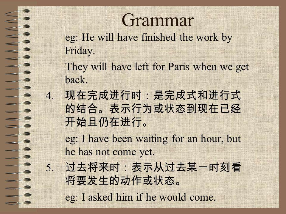 Grammar 3. 完成式:分为现在完成式、过去完成式 和将来完成式。表示行为或状态到现 在、过去或将来的某一时刻已经完成, 且结果或影响保持到该时刻。 常和 yet, just, before, once, already, for, since, ever, never, many times