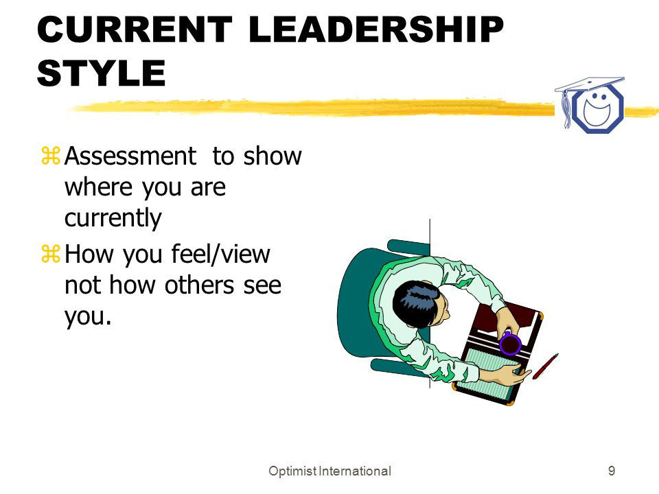 Optimist International9 CURRENT LEADERSHIP STYLE zAssessment to show where you are currently zHow you feel/view not how others see you.