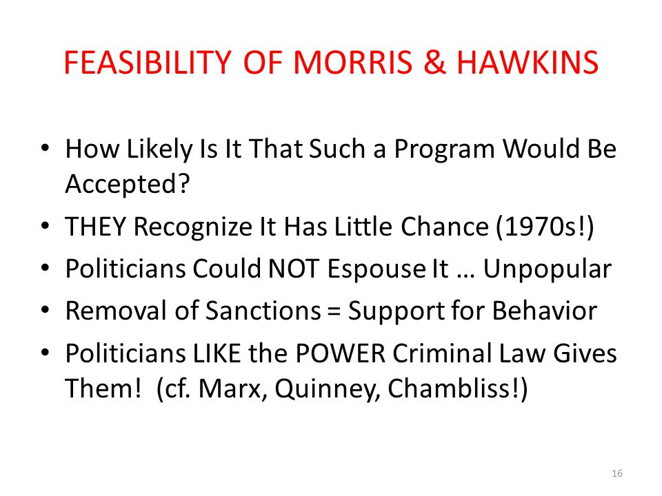 FEASIBILITY OF MORRIS & HAWKINS How Likely Is It That Such a Program Would Be Accepted.