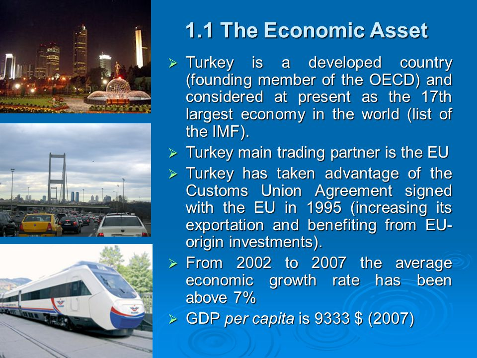 1.1 The Economic Asset  Turkey is a developed country (founding member of the OECD) and considered at present as the 17th largest economy in the world (list of the IMF).