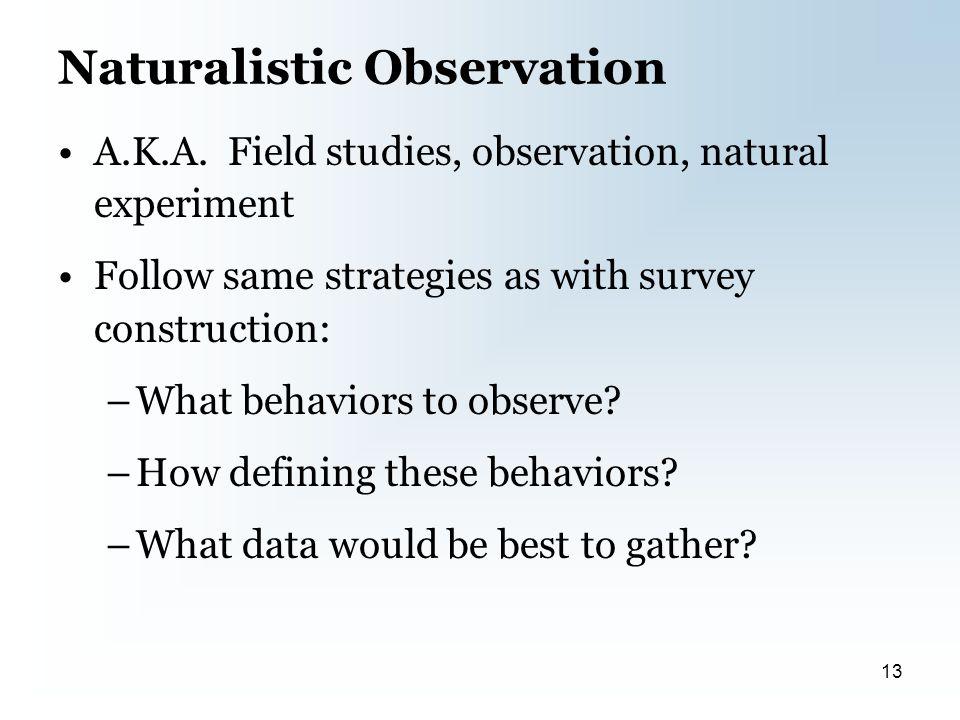 Naturalistic Observation A.K.A.