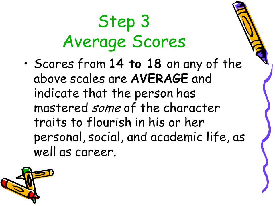 Step 3 Average Scores Scores from 14 to 18 on any of the above scales are AVERAGE and indicate that the person has mastered some of the character traits to flourish in his or her personal, social, and academic life, as well as career.