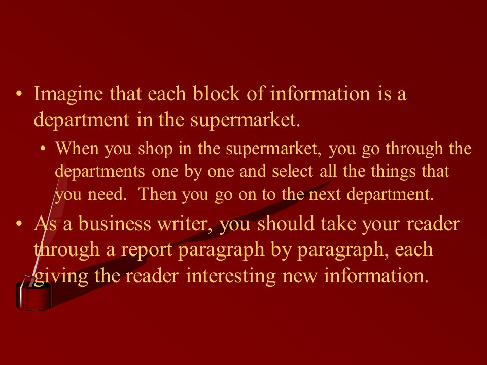 Imagine that each block of information is a department in the supermarket.