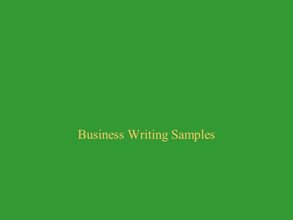 Business Writing Samples