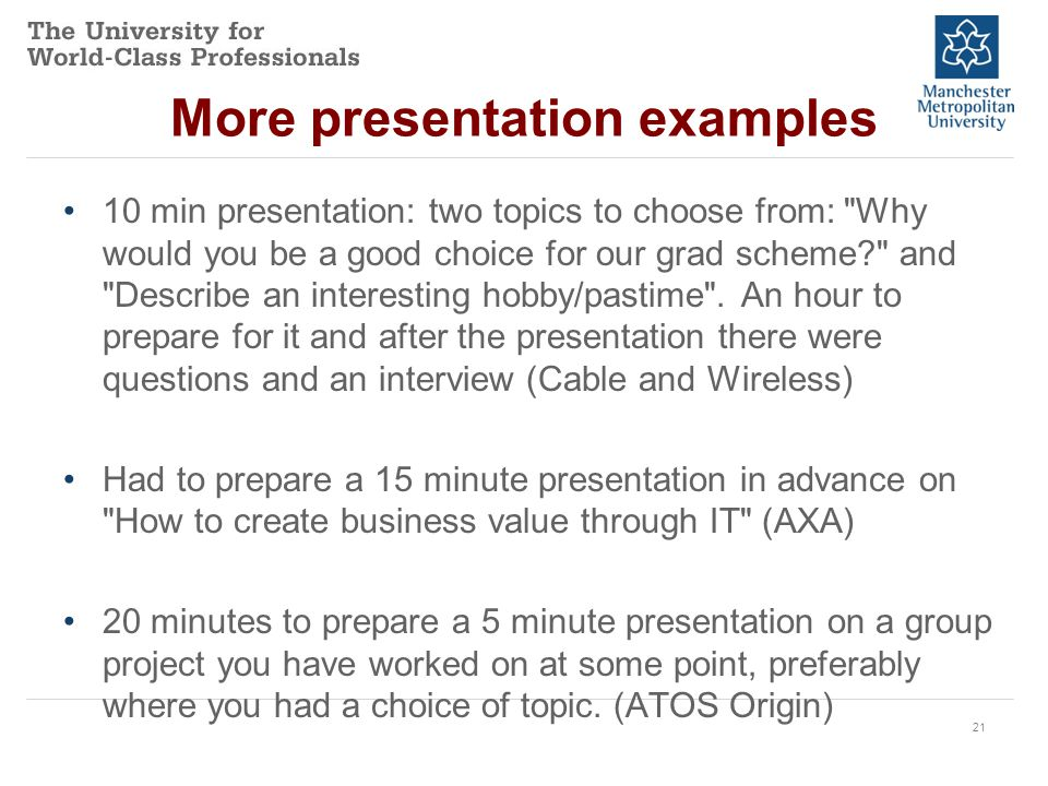 presentations how to get from terrified to confident careers  21 more presentation examples 10 min presentation two topics to choose from why would