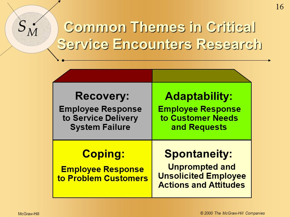 McGraw-Hill © 2000 The McGraw-Hill Companies 16 S M Common Themes in Critical Service Encounters Research Recovery: Adaptability: Spontaneity:Coping: