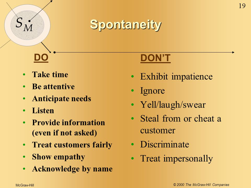 McGraw-Hill © 2000 The McGraw-Hill Companies 19 S M Spontaneity Take time Be attentive Anticipate needs Listen Provide information (even if not asked) Treat customers fairly Show empathy Acknowledge by name Exhibit impatience Ignore Yell/laugh/swear Steal from or cheat a customer Discriminate Treat impersonally DO DON'T