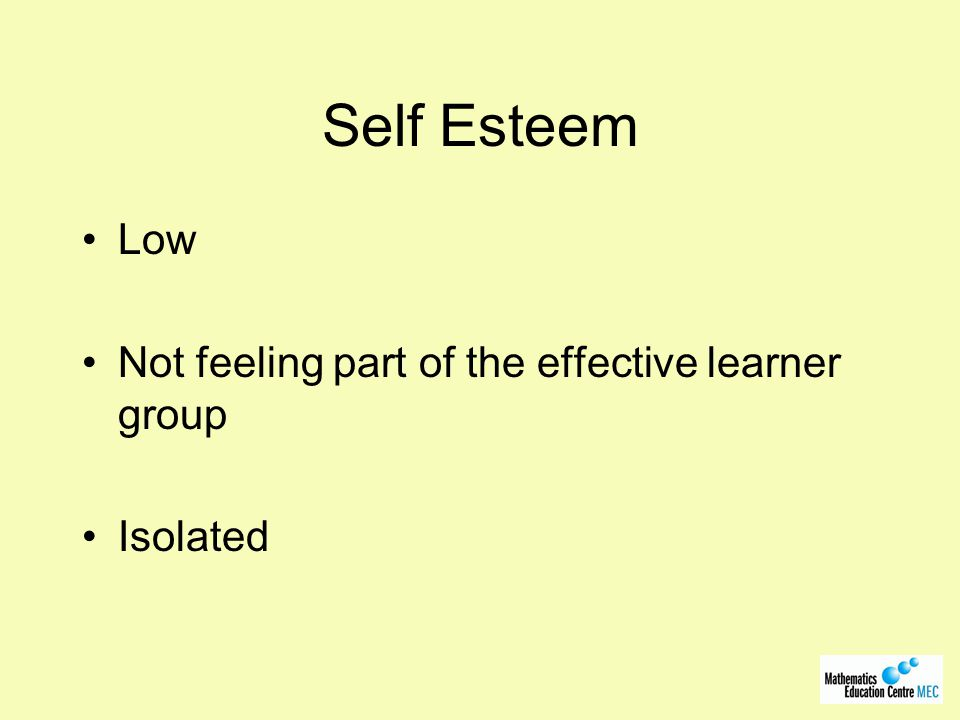Self Esteem Low Not feeling part of the effective learner group Isolated
