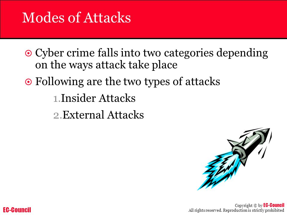 EC-Council Copyright © by EC-Council All rights reserved. Reproduction is strictly prohibited Modes of Attacks  Cyber crime falls into two categories