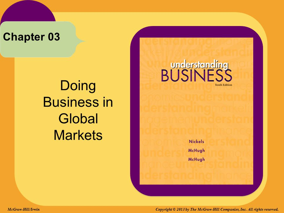 Doing Business in Global Markets Chapter 03 McGraw-Hill/Irwin Copyright © 2013 by The McGraw-Hill Companies, Inc. All rights reserved.