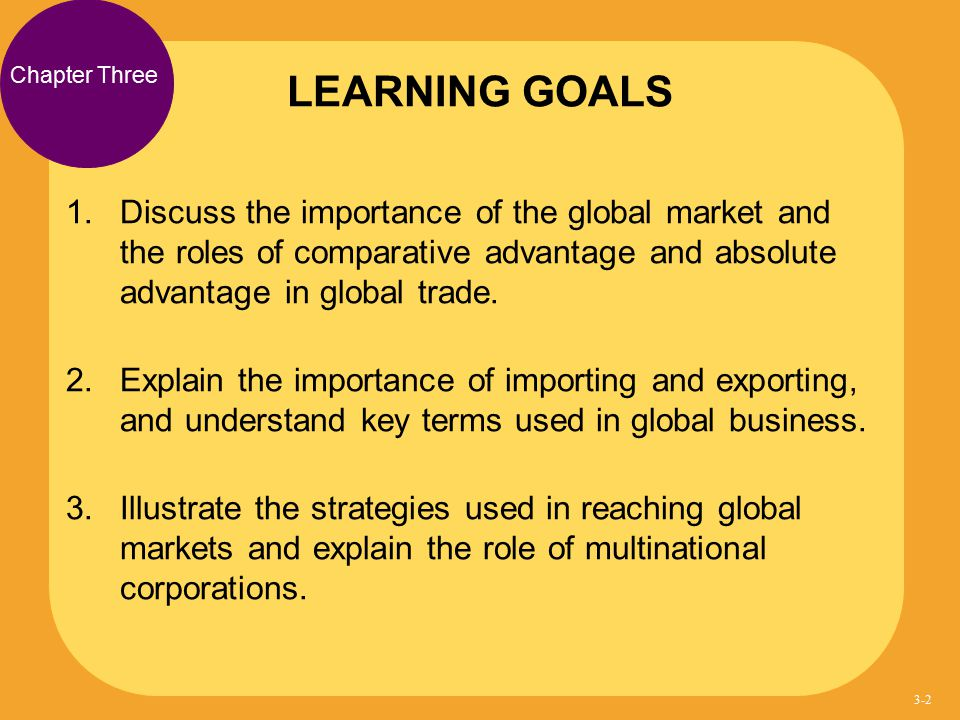 1. Discuss the importance of the global market and the roles of comparative advantage and absolute advantage in global trade. 2. Explain the importanc