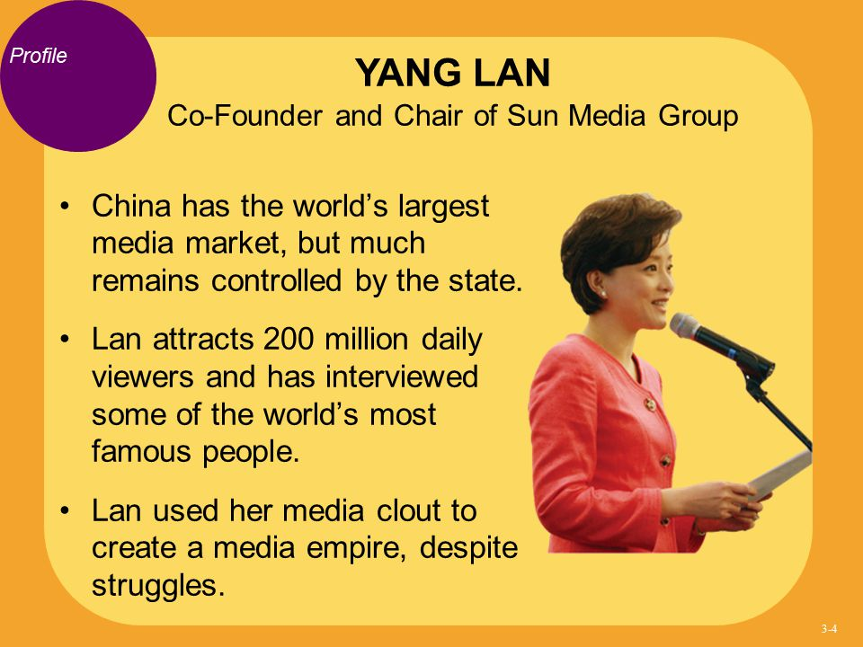 Profile China has the world's largest media market, but much remains controlled by the state. Lan attracts 200 million daily viewers and has interview