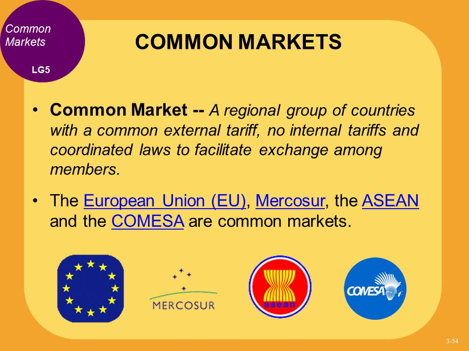 Common Markets Common Market -- A regional group of countries with a common external tariff, no internal tariffs and coordinated laws to facilitate ex