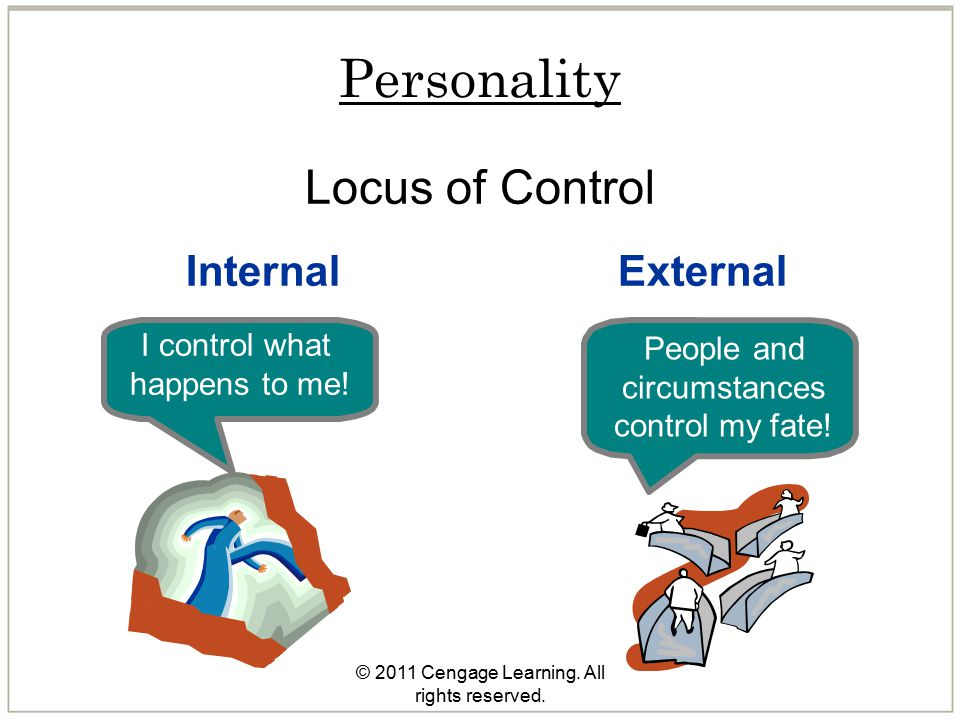© 2011 Cengage Learning. All rights reserved. Personality Locus of Control InternalExternal I control what happens to me! People and circumstances con