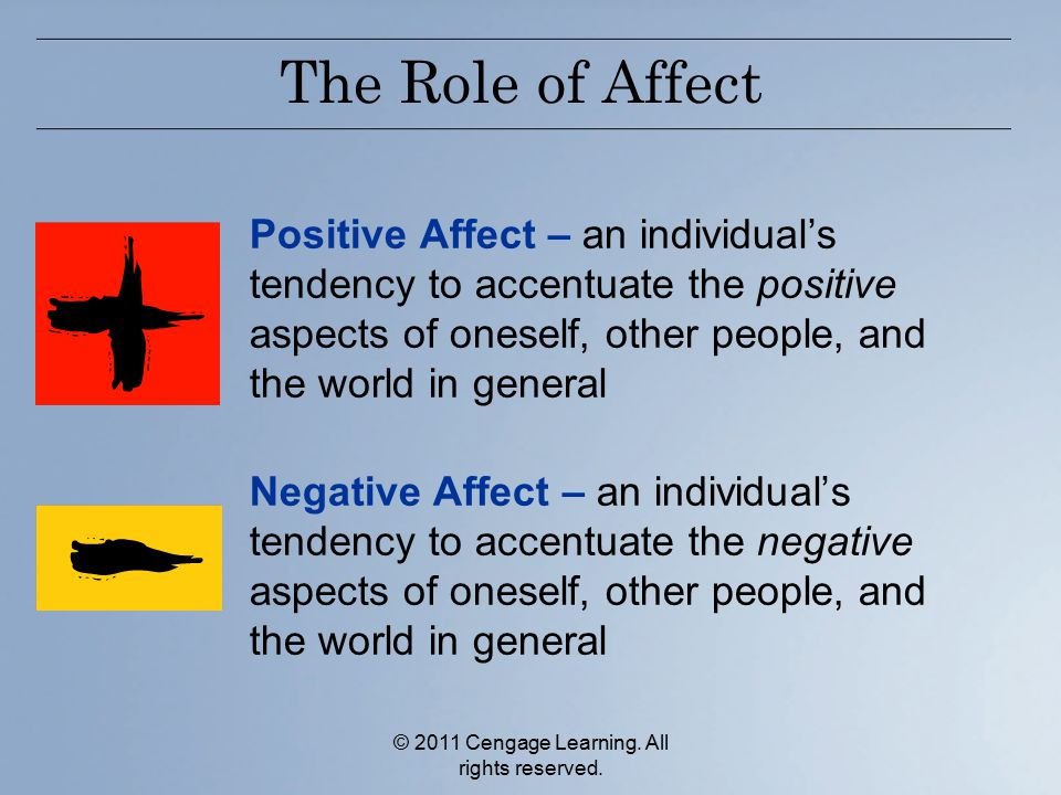 © 2011 Cengage Learning. All rights reserved. The Role of Affect Positive Affect – an individual's tendency to accentuate the positive aspects of ones