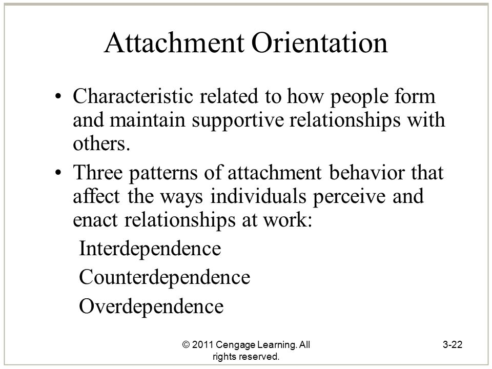 © 2011 Cengage Learning. All rights reserved. 3-22 Attachment Orientation Characteristic related to how people form and maintain supportive relationsh