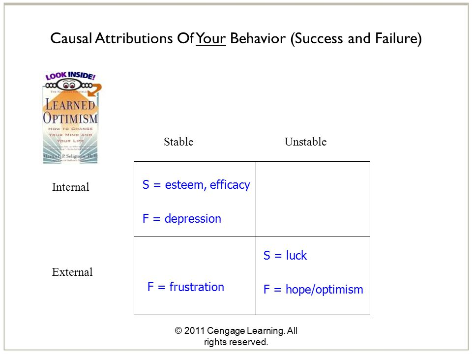 © 2011 Cengage Learning. All rights reserved. Causal Attributions Of Your Behavior (Success and Failure) Stable Unstable Internal External S = esteem,