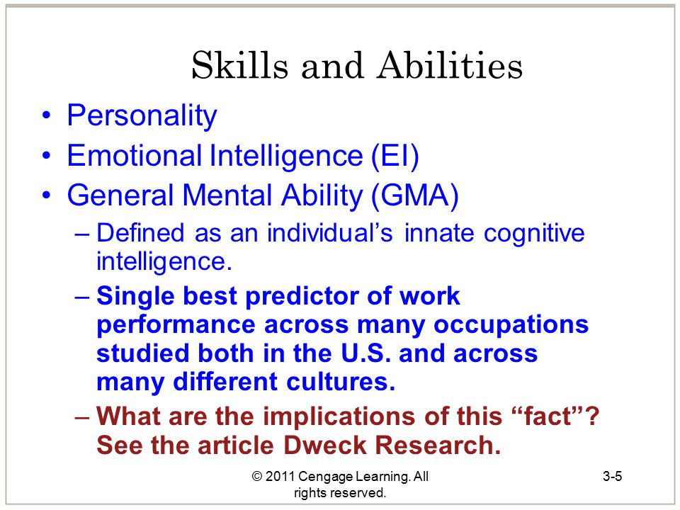 3-5 Skills and Abilities Personality Emotional Intelligence (EI) General Mental Ability (GMA) –Defined as an individual's innate cognitive intelligenc