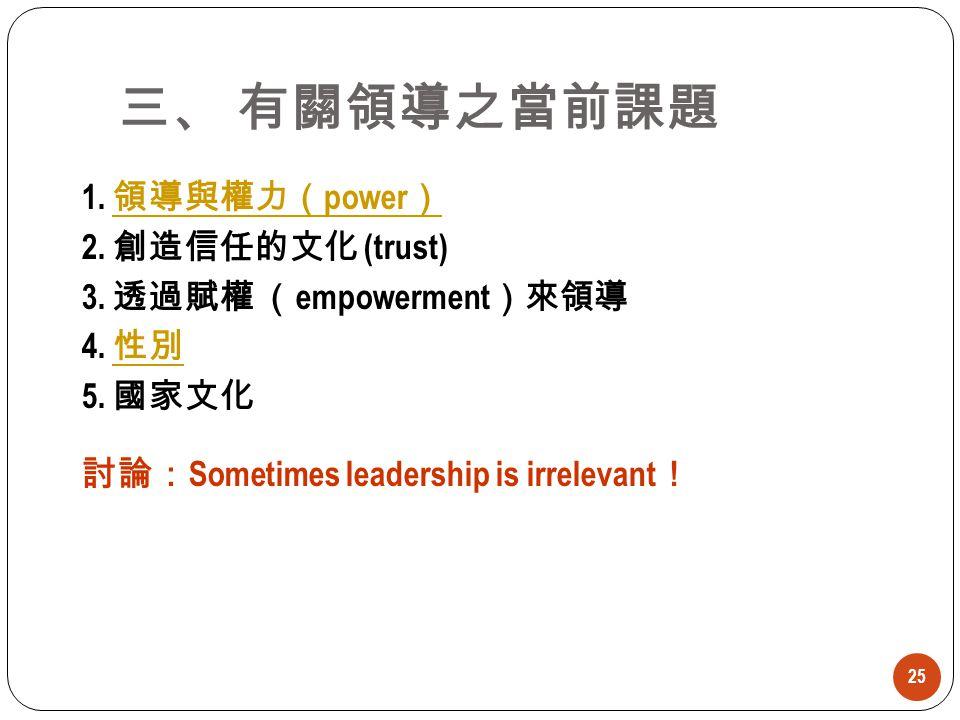 25 1. 領導與權力( power ) 領導與權力( power ) 2. 創造信任的文化 (trust) 3. 透過賦權 ( empowerment )來領導 4. 性別 性別 5. 國家文化 討論: Sometimes leadership is irrelevant ! 三、 有關領導之當前