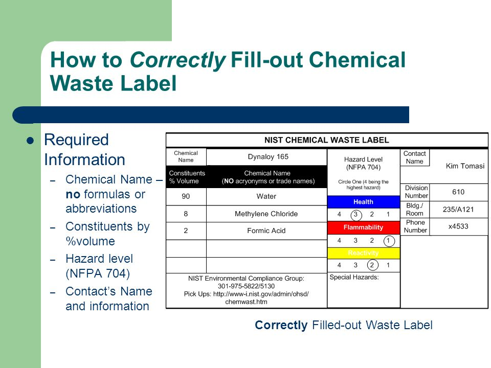 How to Correctly Fill-out Chemical Waste Label Required Information – Chemical Name – no formulas or abbreviations – Constituents by %volume – Hazard level (NFPA 704) – Contact's Name and information Correctly Filled-out Waste Label