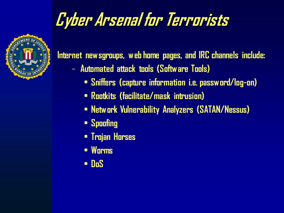 Terrorist Use of the Internet Hacktivism Cyber Facilitated Terrorism Cyber terrorism
