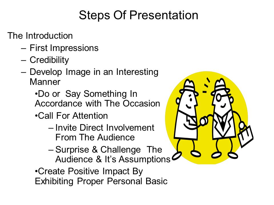 Steps Of Presentation The Introduction –First Impressions –Credibility –Develop Image in an Interesting Manner Do or Say Something In Accordance with