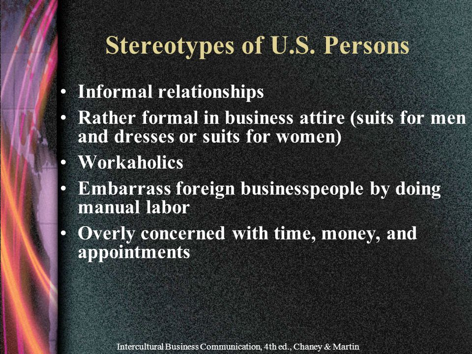 Intercultural Business Communication, 4th ed., Chaney & Martin Stereotypes of U.S.