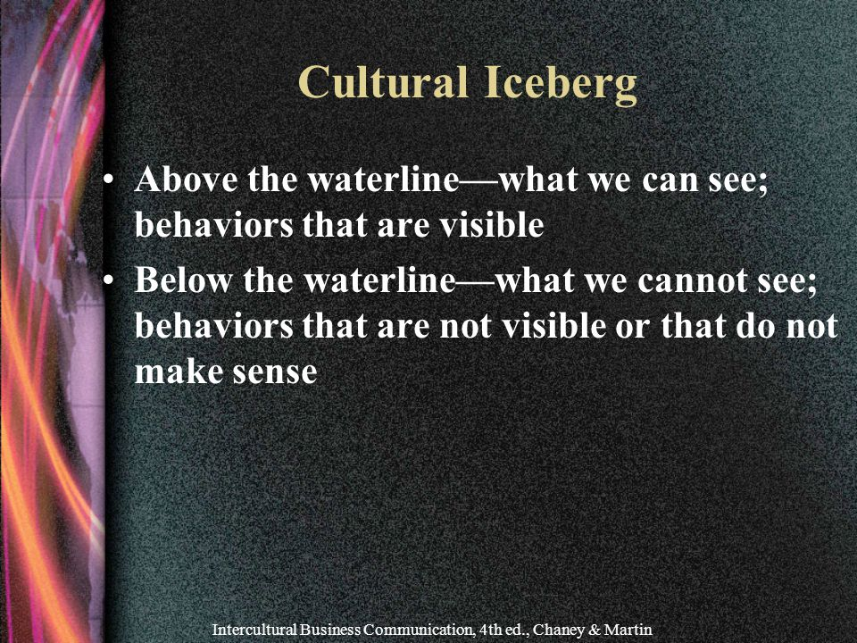 Intercultural Business Communication, 4th ed., Chaney & Martin Cultural Iceberg Above the waterline—what we can see; behaviors that are visible Below the waterline—what we cannot see; behaviors that are not visible or that do not make sense
