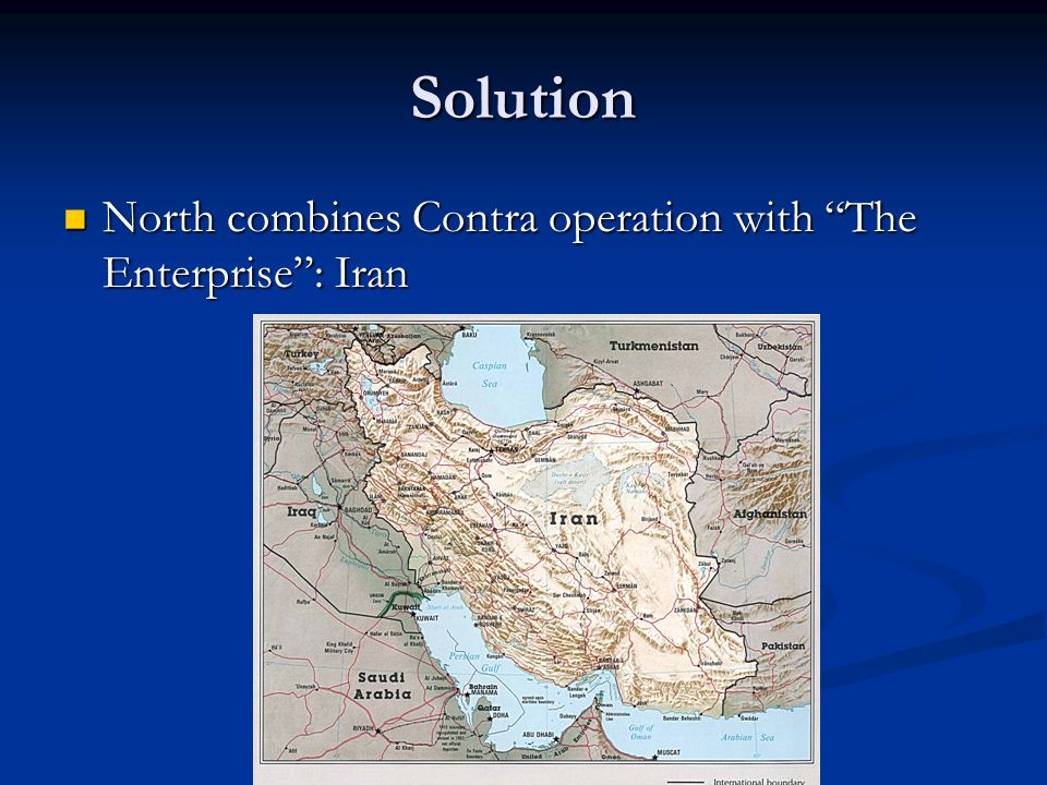 "Solution North combines Contra operation with ""The Enterprise"": Iran North combines Contra operation with ""The Enterprise"": Iran"