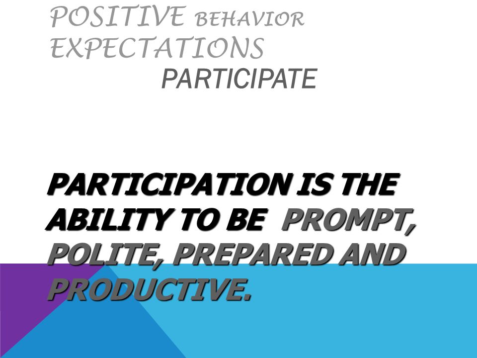 POSITIVE BEHAVIOR EXPECTATIONS PARTICIPATE PARTICIPATION IS THE ABILITY TO BE PROMPT, POLITE, PREPARED AND PRODUCTIVE.