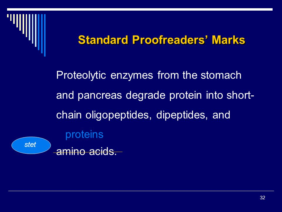 32 Standard Proofreaders' Marks Proteolytic enzymes from the stomach and pancreas degrade protein into short- chain oligopeptides, dipeptides, and pro