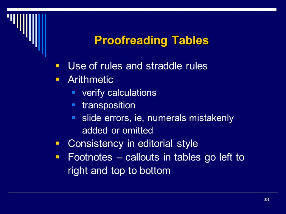 38 Proofreading Tables  Use of rules and straddle rules  Arithmetic  verify calculations  transposition  slide errors, ie, numerals mistakenly ad