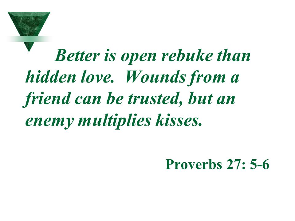 Better is open rebuke than hidden love. Wounds from a friend can be trusted, but an enemy multiplies kisses. Proverbs 27: 5-6