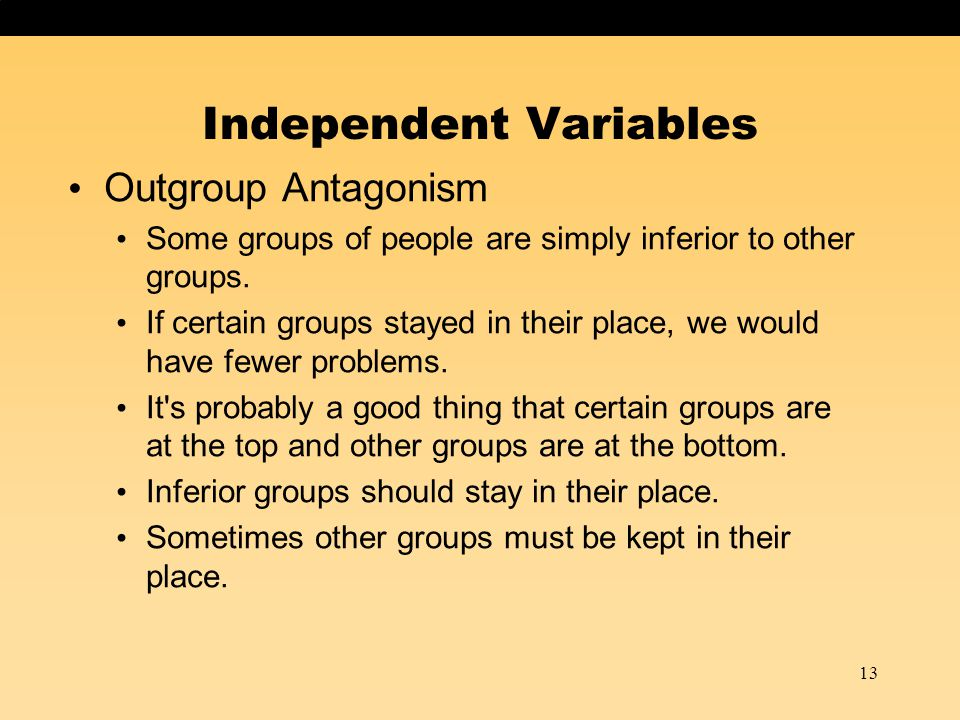 Outgroup Antagonism Some groups of people are simply inferior to other groups. If certain groups stayed in their place, we would have fewer problems.
