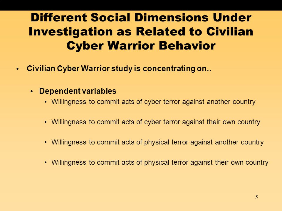 Predicting Cyber Attack Against Homeland 16 Using these independent variables in a multiple regression analysis, it appears that four factors predict cyber attacks against their homeland Emotive national identity** Negative relationship – less emotional identity equals more severe cyber attack magnitude Homeland* Non-US homeland individuals more severe cyber attack than US homeland individuals Willingness to perform a physical attack*** Positive relationship – more severe physical attack means more severe cyber attack Pirate software or media*** Positive relationship – more piracy activity means more severe cyber attack