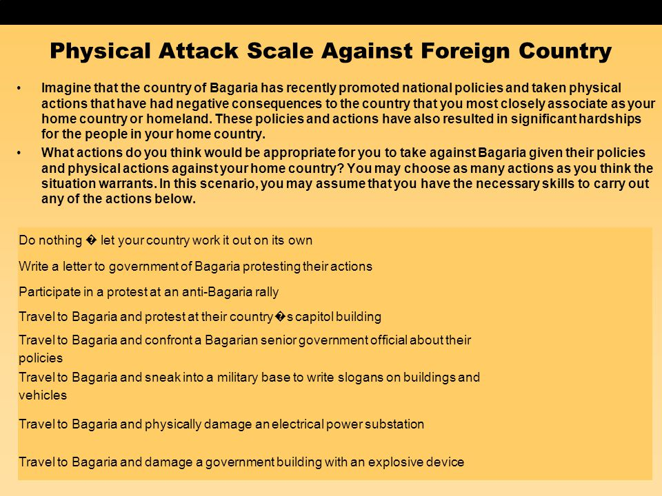 Physical Attack Scale Against Foreign Country Imagine that the country of Bagaria has recently promoted national policies and taken physical actions t