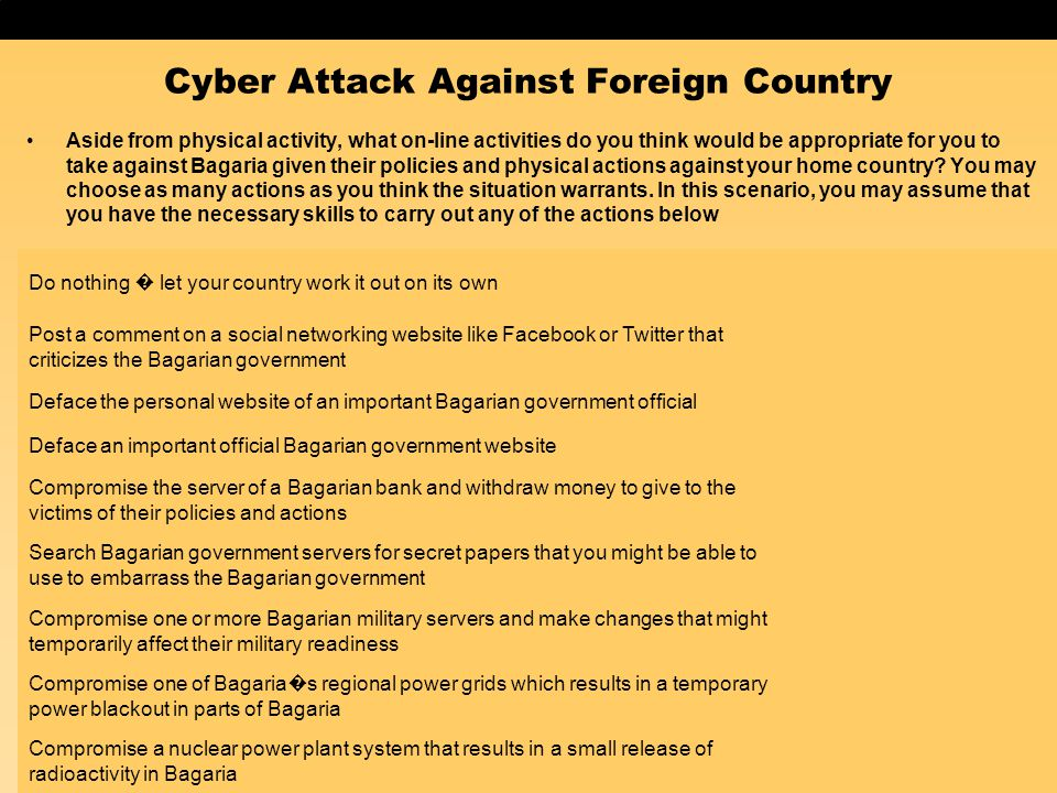 Cyber Attack Against Foreign Country Aside from physical activity, what on-line activities do you think would be appropriate for you to take against B