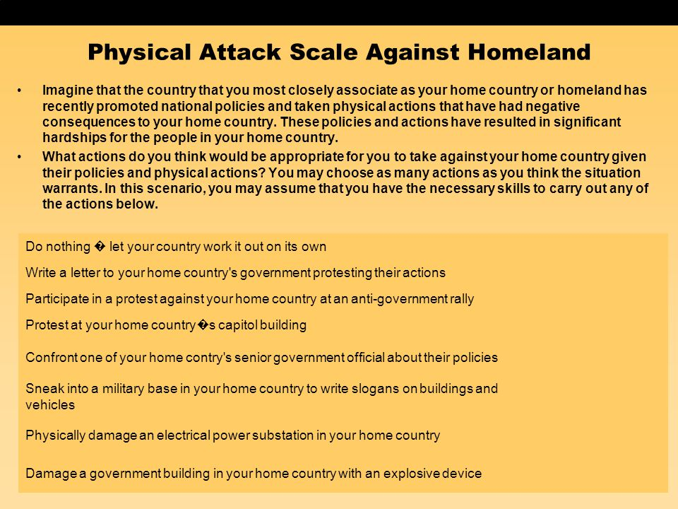 Physical Attack Scale Against Homeland Imagine that the country that you most closely associate as your home country or homeland has recently promoted