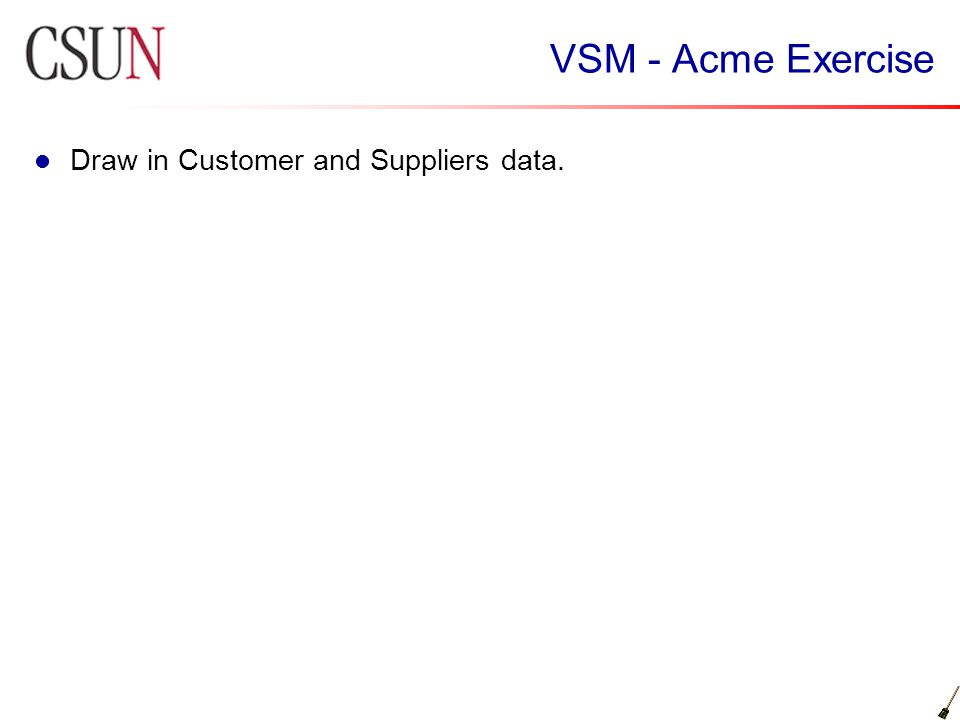 VSM - Acme Exercise Draw in Customer and Suppliers data.