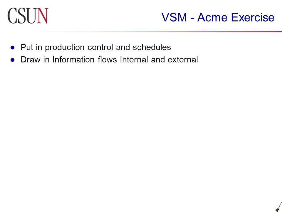 VSM - Acme Exercise Put in production control and schedules Draw in Information flows Internal and external
