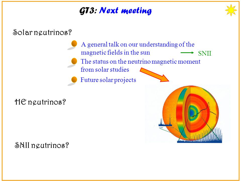 GT3: Next meeting A general talk on our understanding of the magnetic fields in the sun The status on the neutrino magnetic moment from solar studies